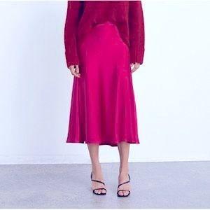 💕Glamorous Luxury100%SILK MIDI Skirt Bowtie Waist